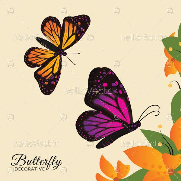 Monarch butterflies on floral background vector