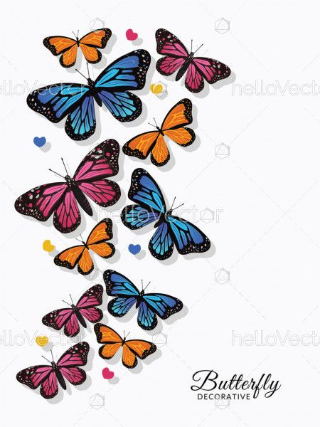 Colorful Monarch butterflies for wall decoration