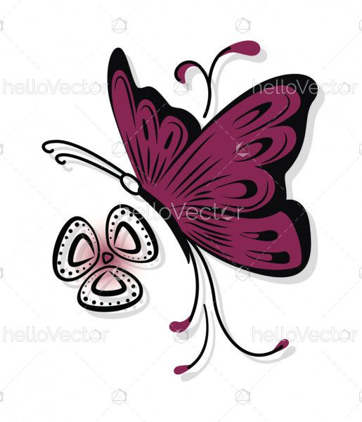 Patterned colored butterfly design vector