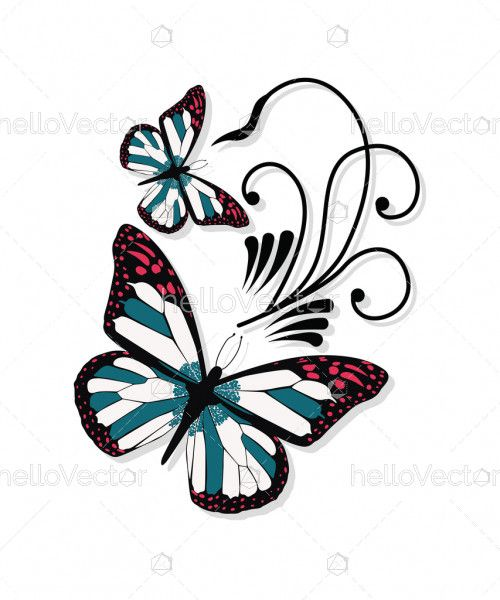 Monarch butterfly tattoo design Vector