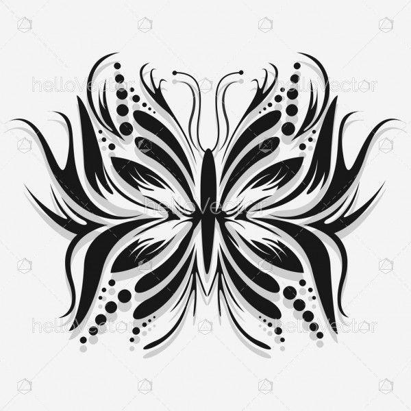 Butterfly Tattoo Design - Vector Illustration