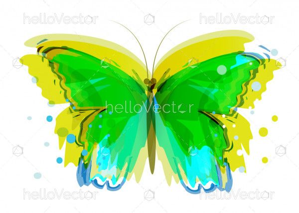 Watercolor abstract butterfly vector design