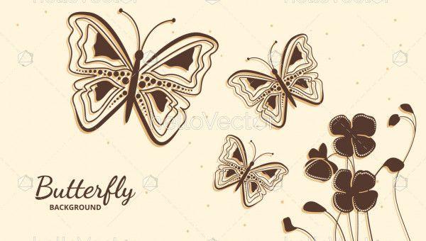 Decorative butterflies floral background vector