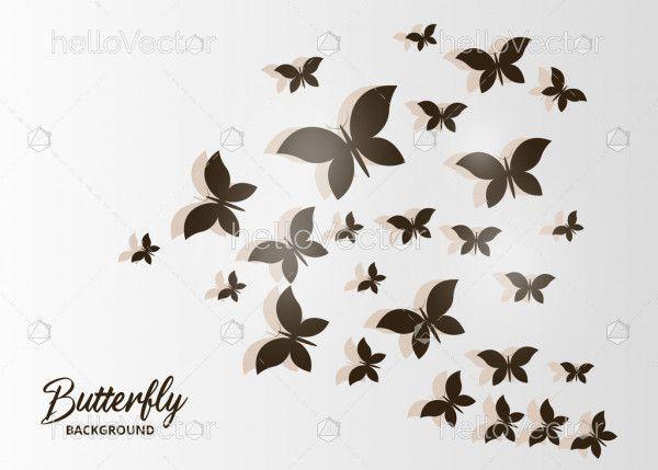 Silhouette black flying flock of butterflies vector
