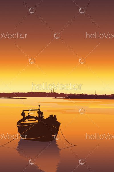 Silhouette of a boat on river at sunset vector background. Mobile wallpapers illustration.