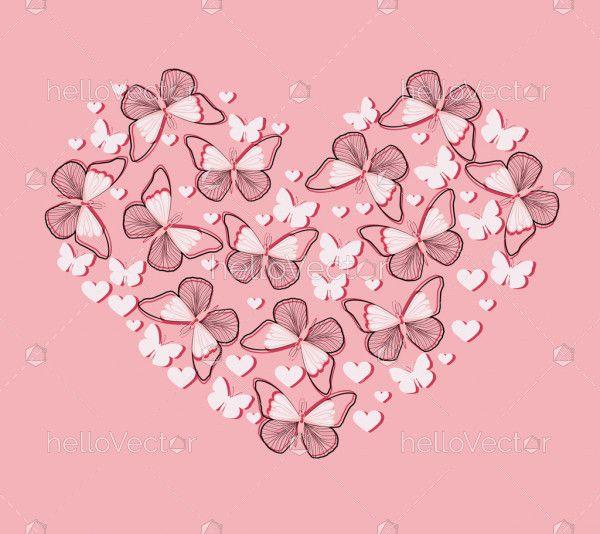 Heart shaped butterfly illustration