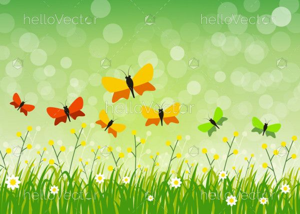 Butterfly floral vector green background