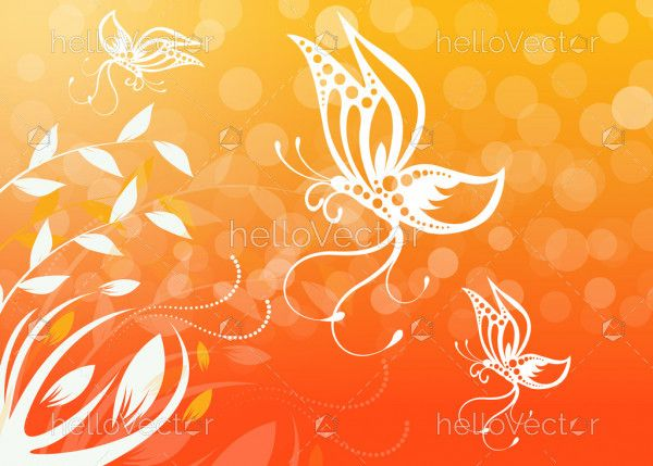 Butterfly floral wallpaper background
