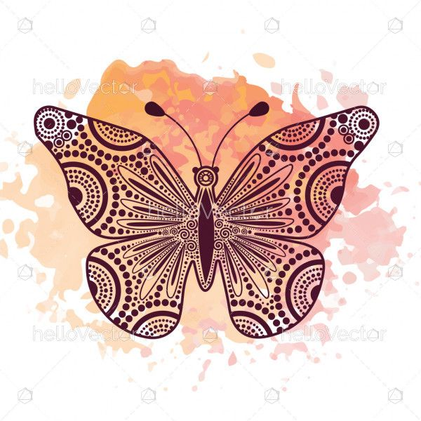 Dot outline decorative butterfly illustration