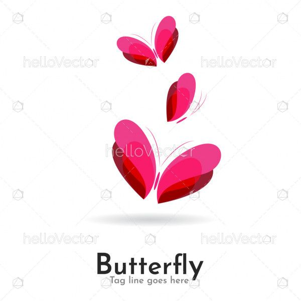 Butterfly abstract colorful logo icon overlay transparent
