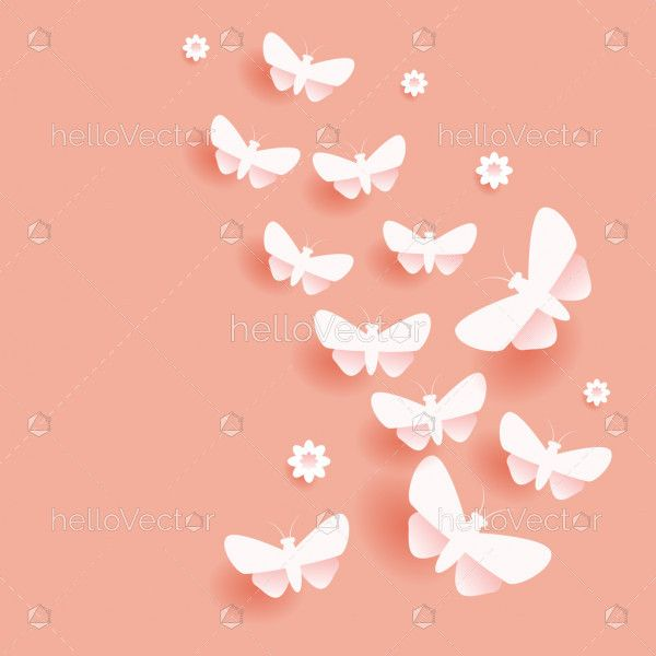 Flying flock of cut out paper butterflies illustration