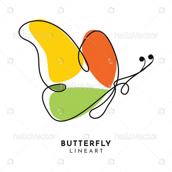 Abstract butterfly line art logo