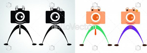 Male and Female vector illustration Camera Character