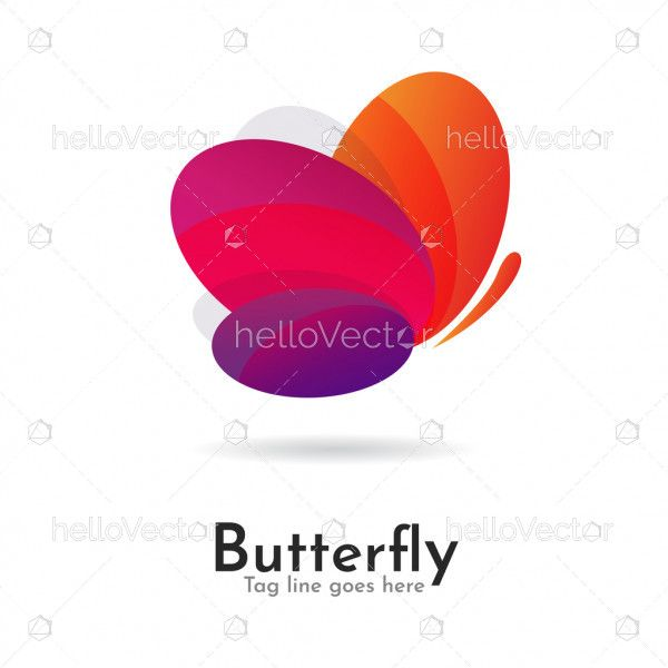 Butterfly colorful logo icon overlay transparent
