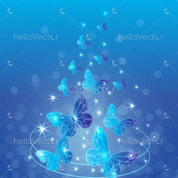 Blue butterfly wallpaper background vector