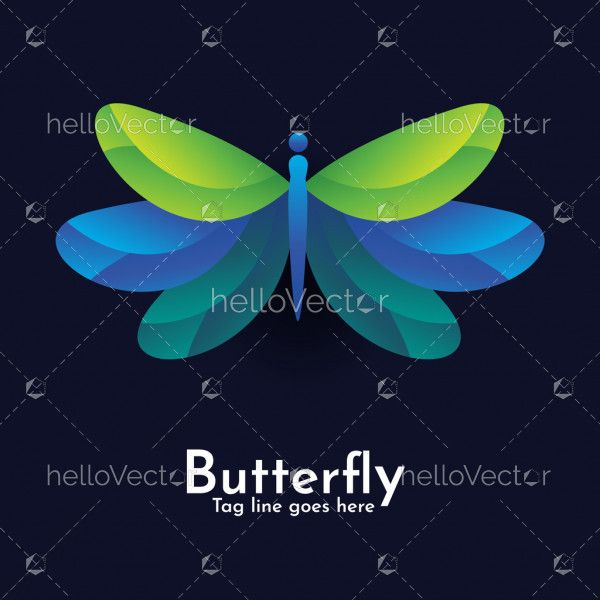 Butterfly colorful logo icon on dark blue background