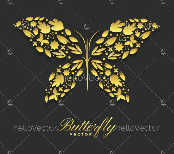Golden butterfly with elegant decorative pattern - Vector Illustration