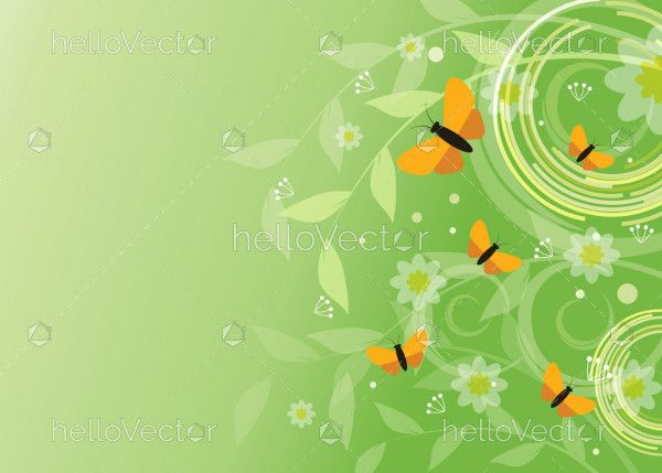 Butterfly floral background illustration