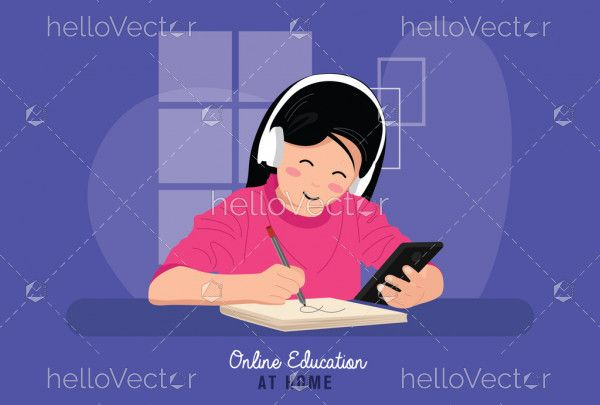 Little girl studying online with the phone
