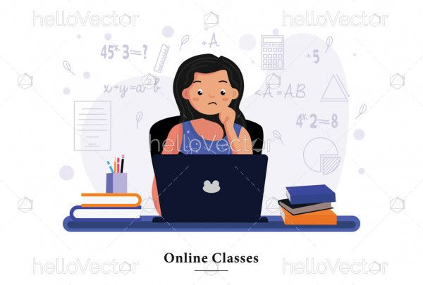 Girl studying online with the laptop at home