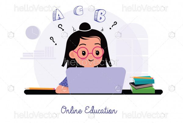 Cute girl is studying online with the laptop at home