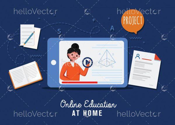 Teacher on tablet monitor teaching education online