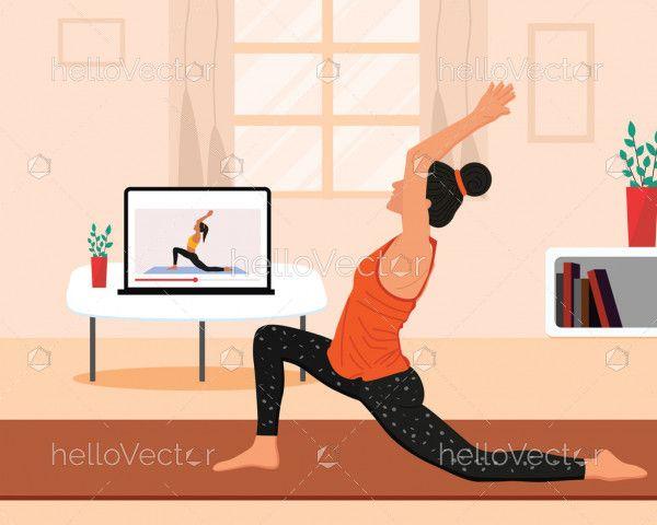 Online yoga class concept illustration