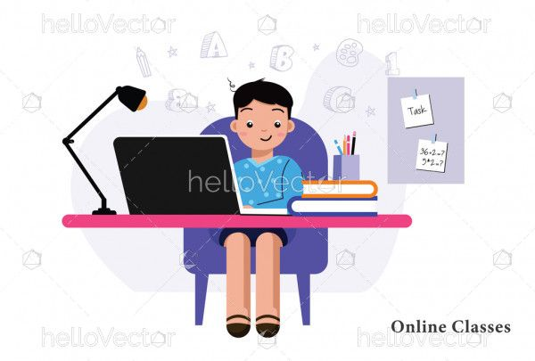 Boy is studying with laptop at home