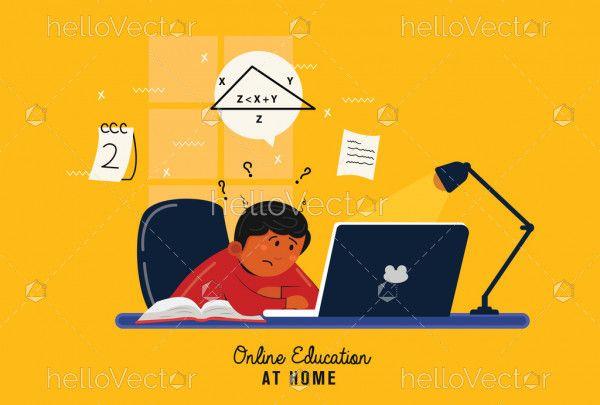 Kids home schooling concept illustration