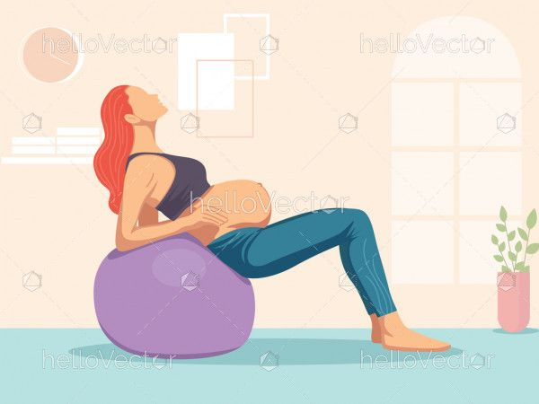 Pregnant woman doing exercise with a swiss ball