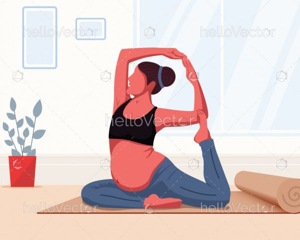 Pregnancy and yoga concept