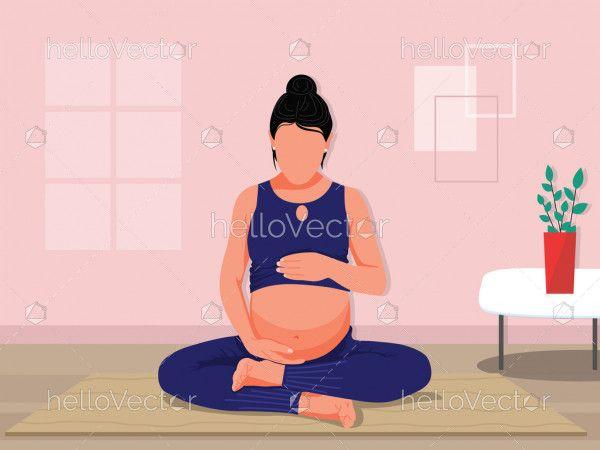 Pregnancy and yoga concept illustration