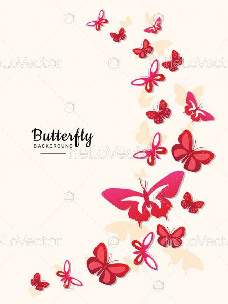 Colored fly flock of butterflies for wall decoration