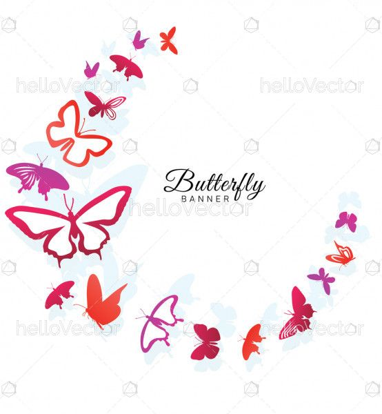 Greeting card banner with colorful butterflies
