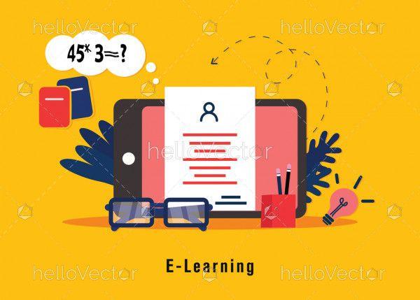 E-Learning flat illustration