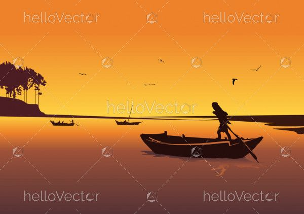 Sunset background with river. Silhouette of man in boat rowing Vector.