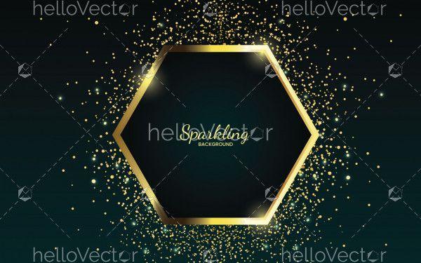 Golden sparkling hexagonal frame with golden glitter