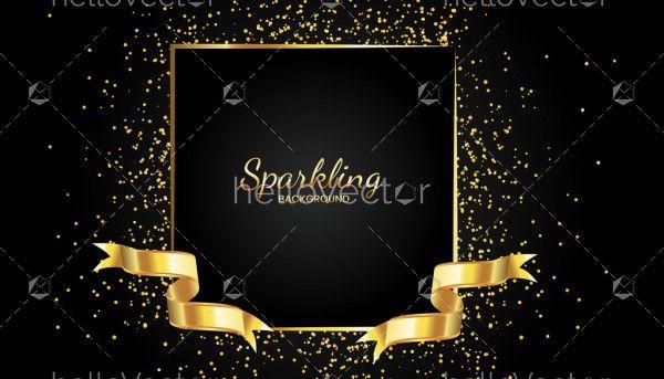 Golden sparkling frame with ribbon background