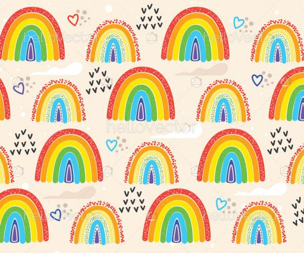 Seamless pattern with colored rainbows