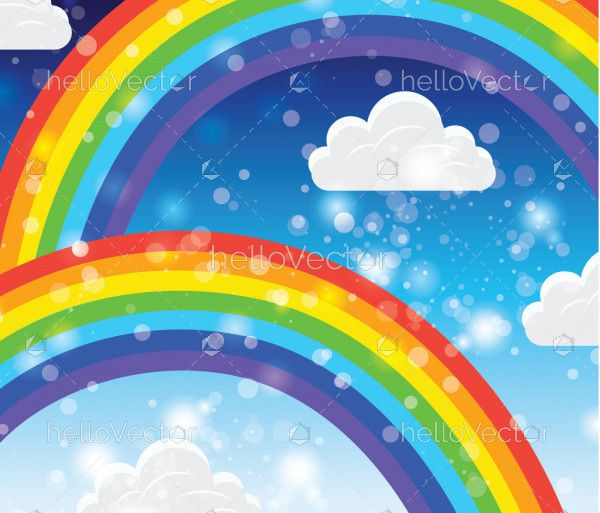 Arched rainbow with clouds background