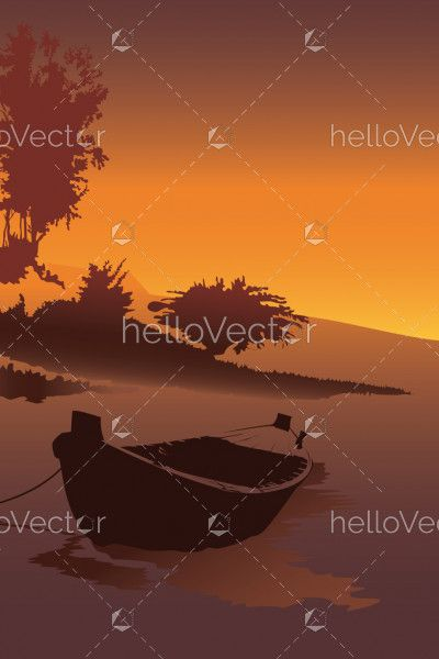 Boat stand at river shore vector. Portrait view background with sunset at the seashore, Nature wallpaper illustration.