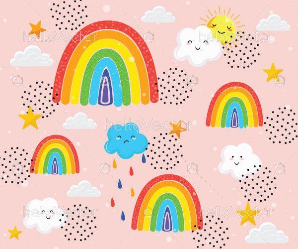 Trendy childish design rainbow background