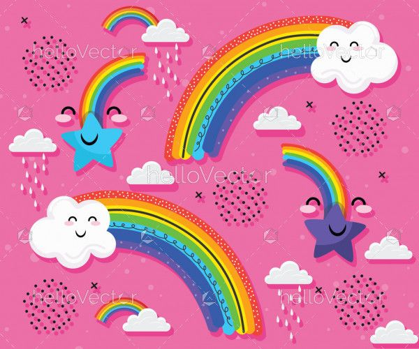Rainbow background for kids with cute clouds and happy star