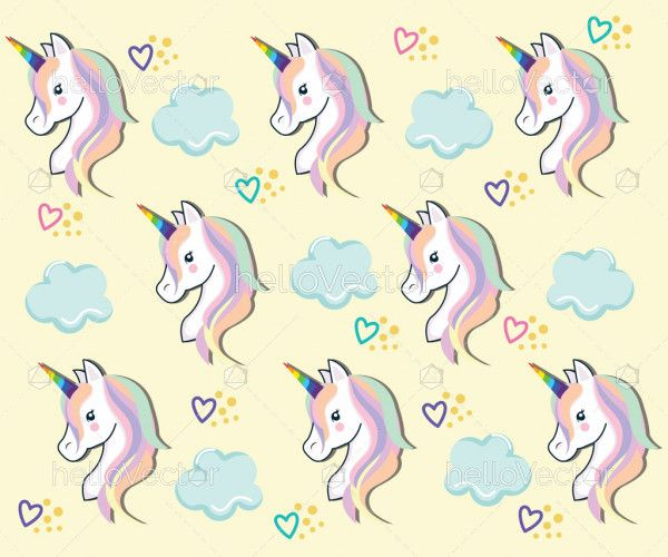 Seamless pattern with rainbow unicorns and clouds