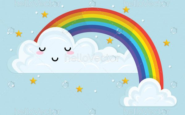Color rainbow with emotion cloud