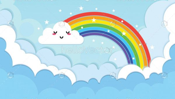 Rainbow with emotion cloud on sky origami style