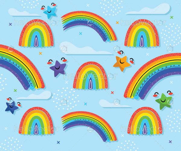 Rainbow, cute stars and clouds in paper art style