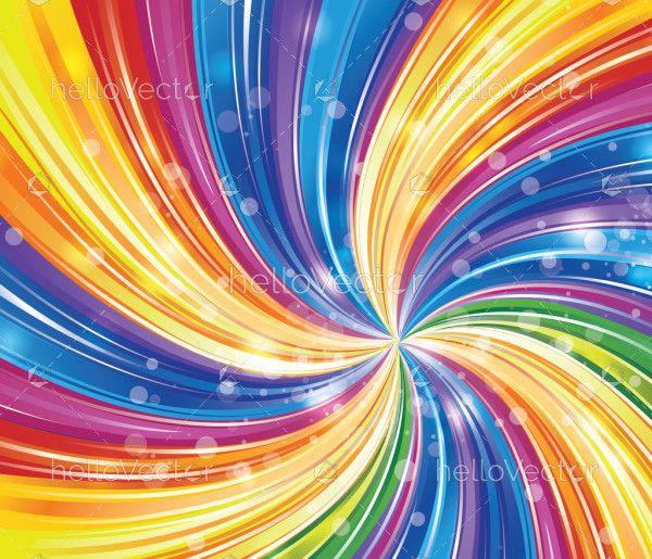 Shiny rainbow swirl vector background