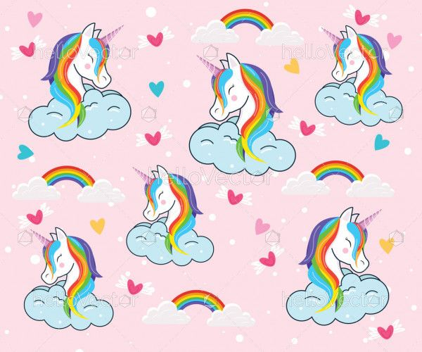 Seamless pattern of cartoon unicorn with clouds and rainbow
