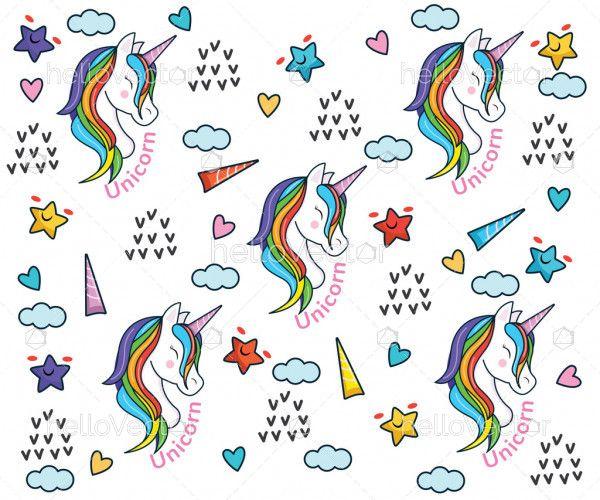 Cartoon rainbow unicorn patterns background